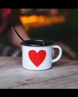 Emaljekop - lille ESPRESSO kop - hvid med hjerte - 150ml
