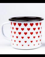 Emalje kop - Med hjerter