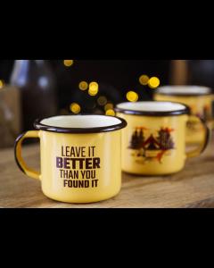 "Emaljekop - Gul/Brun - ""Leave it better than you found it"""