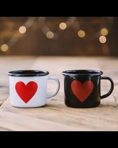 Emaljekop - lille ESPRESSO kop - sort med hjerte - 150ml