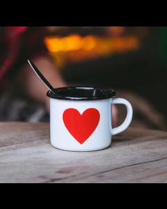 Mini Espresso Emalje Kop - Med Stort Hjerte